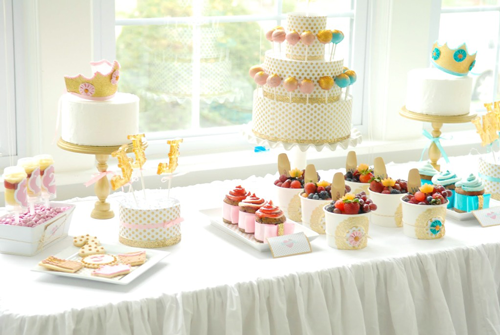 jack and jill crown party dessert table