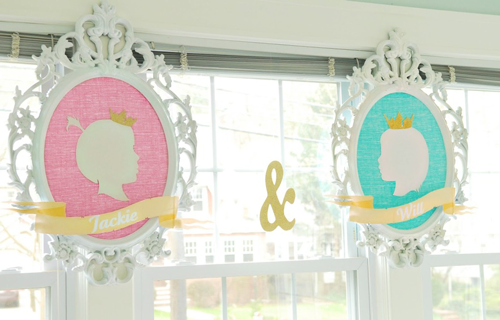 jack and jill crown party silhouette decor