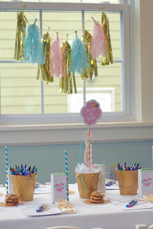 pastel kid's table with tissue garlane