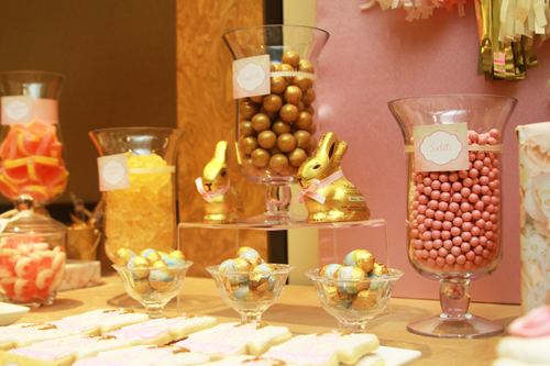 pink and gold dessert table candy buffet
