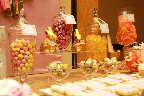 pink and gold dessert table candy buffet2