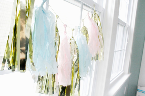 tissue tassel garland with pastels and gold