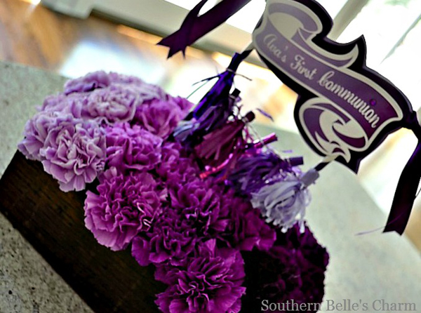 Purple Ombre Centerpiece with mini tassel garland
