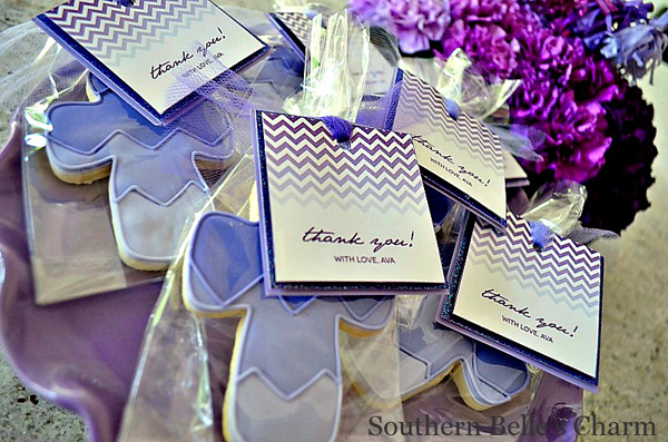 Purple Ombre Communion Favor Tags and Cookies