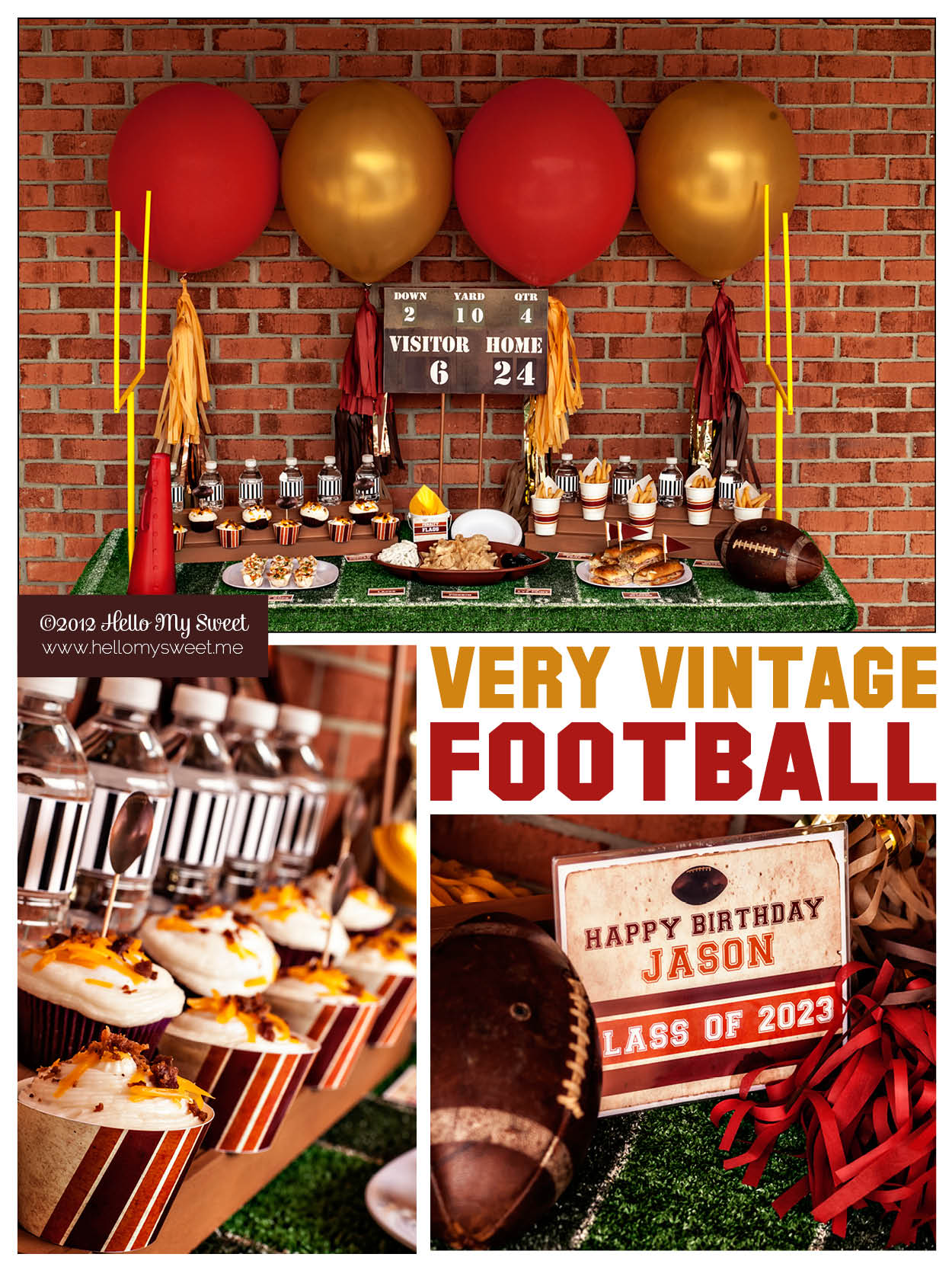 A very vintage football party handmade decor the flair for Super bowl party items