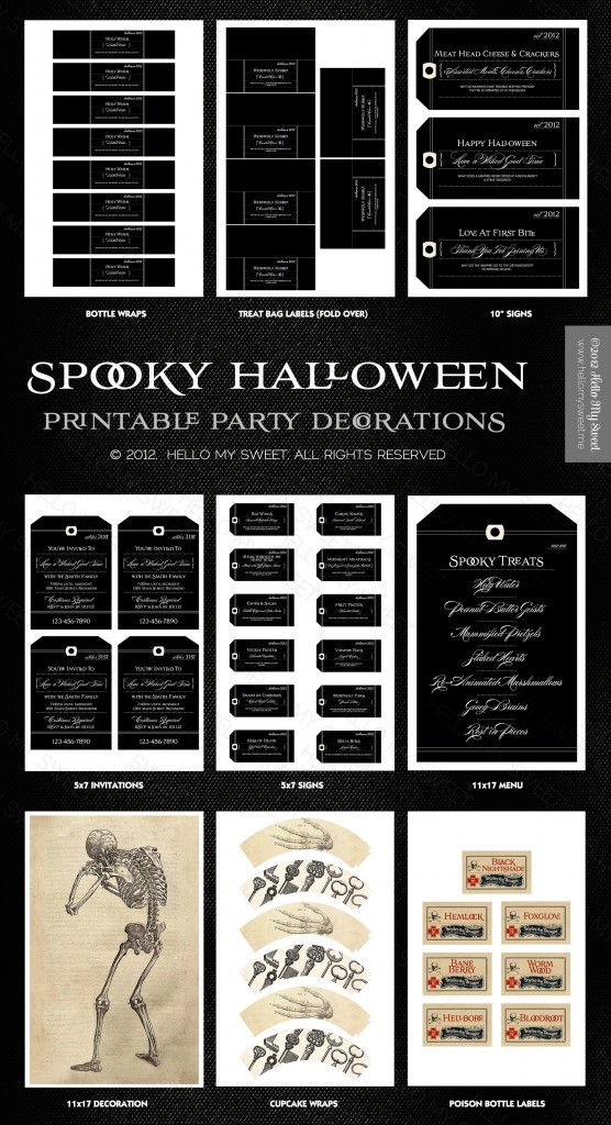 Spooky Gothic Halloween Party Printables