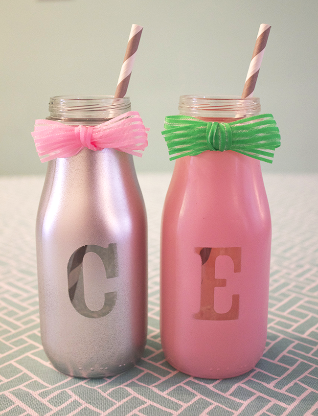 monogrammed glass bottle place cards diy - handmade decor
