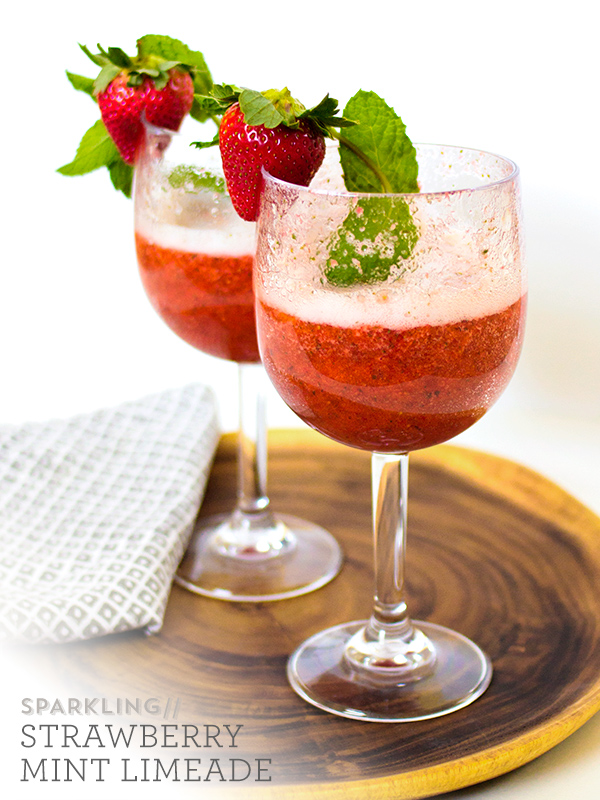 The Flair Exchange | Sparking Strawberry Mint Limeade Recipe by Sarah Hearts - Recipe for limeade