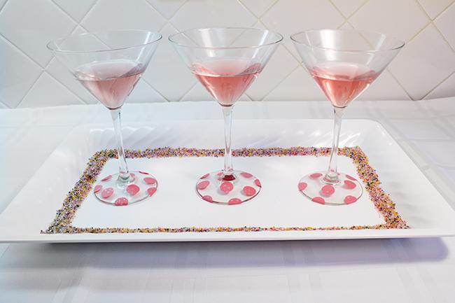 DIY Polka Dot Martini Glasses 9