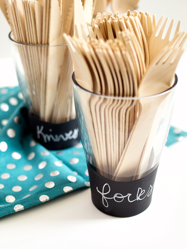 DIY Chalkboard Utensil Cups | Sarah Hearts for The Flair Exchange