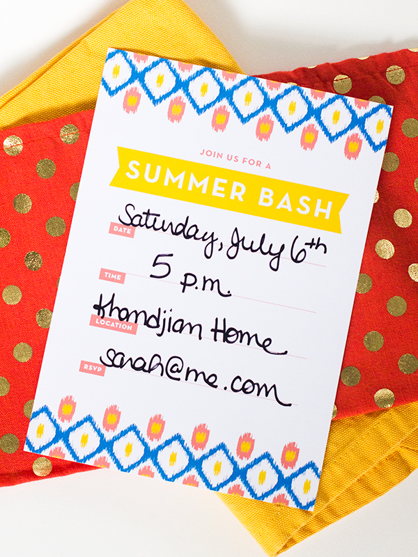 Printable Ikat Summer Party Invitation – Get Together Party Invitation