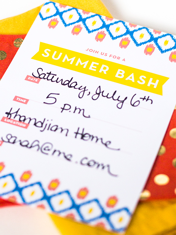 Printable Ikat Summer Party Invitation | Sarah Hearts for The Flair Exchange