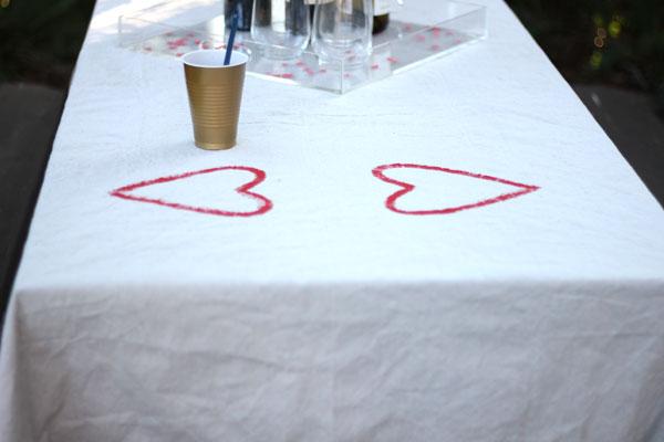 Transform Drop Cloth into Table Cloth