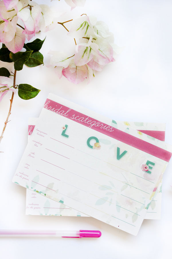 Free Bridal Scategories Game | The Flair Exchange®The ...