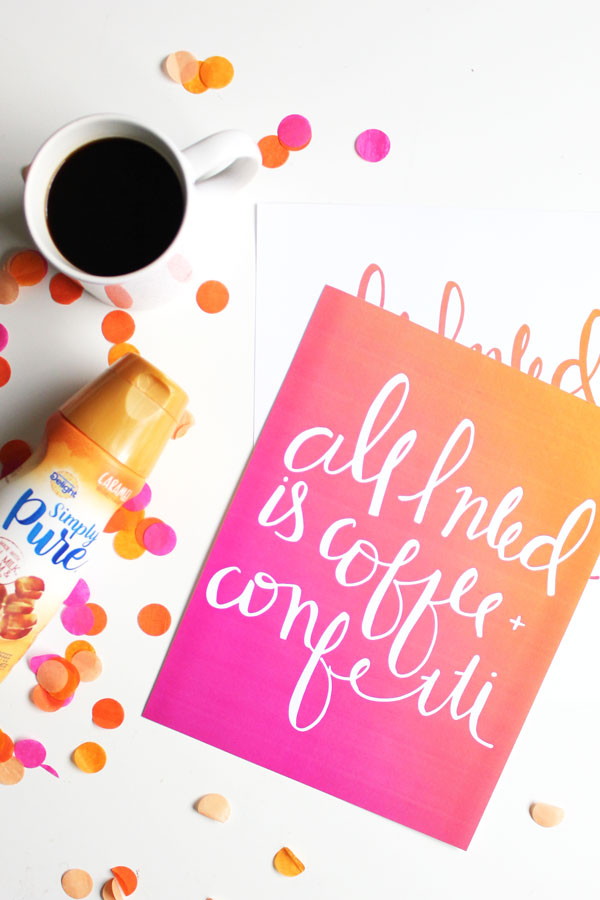 All I Need Is Coffee And Confetti Free Art Print The